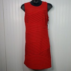 Calvin Klein Red Sleeveless Bandage Stretch Dress